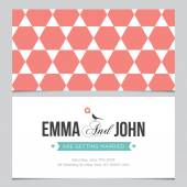 Wedding card back and front with pattern background 04 — Stock Vector