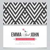 Wedding card back and front with pattern background 01 — Stock Vector