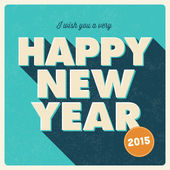 Happy new year card, retro vintage style — Stock Vector