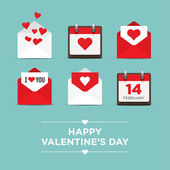 Valentines day set of icons, letter, envelope, calendar, hearts — ストックベクタ