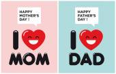 Mother and fathers day cards. I love mom. I love dad. — Stock Vector