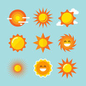 Sun icons set. Vector illustrations. — Stock Vector