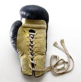 Lace Up Boxing Glove Lying on White Background — Stockfoto
