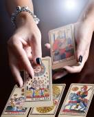 Hands Performing Tarot Card Reading — Stock Photo