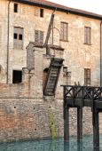Old drawbridge on a castle wall — Stock Photo