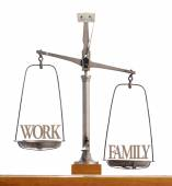 Scale showing the balance of work and family — Stock Photo
