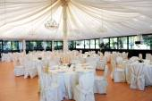 Wedding venue under a marquee — Stock Photo