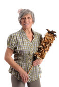 Smiling Adult Woman Holding Feather Duster — Stock Photo