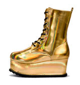 Golden alien shoe — Stock Photo
