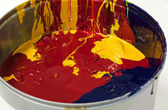 Mixture of Colored Paints or Inks in a Can — Stock Photo
