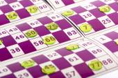 Transparent Round Plastics on Top of Bingo Cards — Стоковое фото