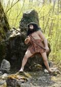 Homo Sapiens Statue Holding Hunting Tool — Stock Photo