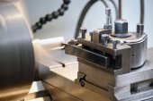 Close Up of Lathe Machine in Operation — Stock Photo