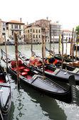 Row of gondolas on the Grande Canal, Venice — Stock Photo