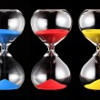 Three hourglasses with colorful sand — Zdjęcie stockowe #81692986