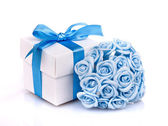 Flowers and gift box — Stock Photo