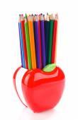 Kleurrijke potloden in stand — Stockfoto