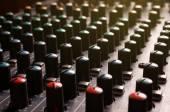 Knobs of a studio soundboard — Stock Photo