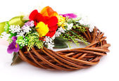 Guirnalda de ramitas y composición de flor — Foto de Stock