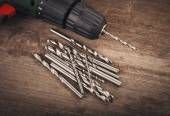 Drill and set of drill bits — Stock Photo