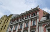Fragment of old renovated building in centre. — Photo