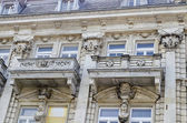 Fragment close up of ancient building with rich decoration and oriel in centre of Ruse town — Stock Photo