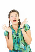 Emotions on the face of a girl with two plaits — Stock Photo