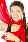 Red silk scarf. Portrait of a girl  — Stock Photo
