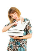 Girl with books isolated on white background — Stock Photo