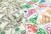 Paper money euro and dolar. background of banknotes — Stock Photo