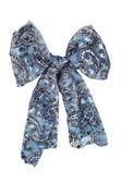Silk scarf. Blue silk scarf folded like bowknot — Stock Photo