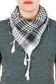 Silk scarf. Grey silk scarf around her neck isolated on white background. — Fotografia Stock