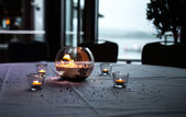 Romantic candles on wedding table — ストック写真