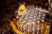 Champagne Flutes with fresh orange Juice — Stock Photo