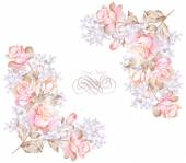 Watercolor floral illustration collection — Stock Photo