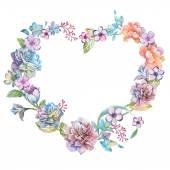 Λουλούδια διατεταγμένα σε ένα σχήμα της καρδιάς — Φωτογραφία Αρχείου