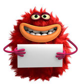 Red cartoon hairy monster 3d — Stock Photo