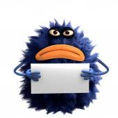 Blue cartoon hairy monster 3d — Stock fotografie