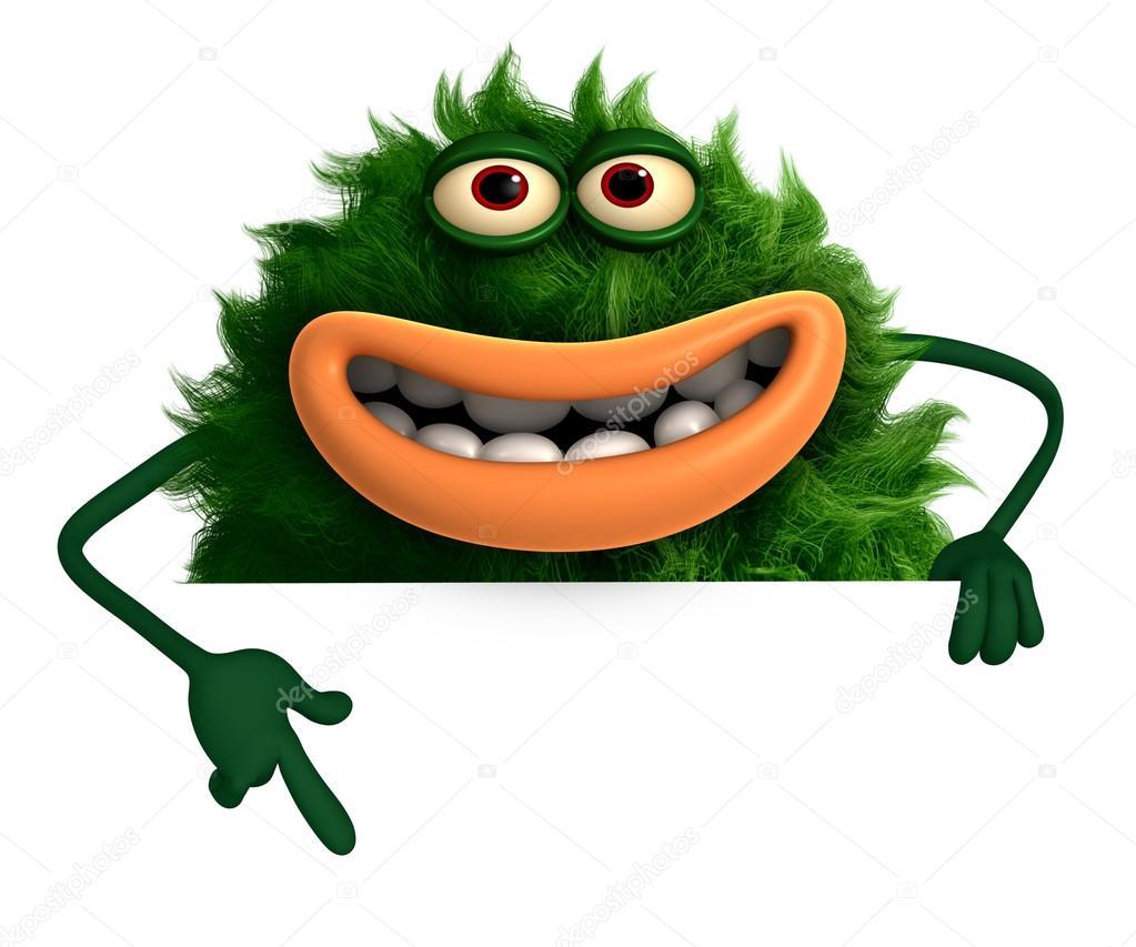 卡通绿毛怪物 3d — 图库照片08bertoszig