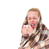 A woman with a symptoms cold — Stock Photo