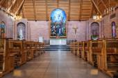 Interior in catholic cathedral — Stock Photo