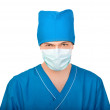 Medic in mask tensely looks in camera — Stock Photo #64693209
