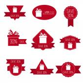 Gift stickers with discount offer. — Stok Vektör