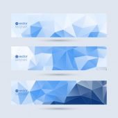 Set of vector banners with triangles and polygon mesh. — Vector de stock