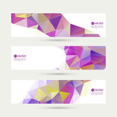Set of vector banners with triangles and polygon mesh. — Stock Vector