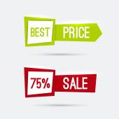 Set of glowing banners with discounts — Stock Vector