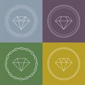 Set gemstones round banner. — 图库矢量图片