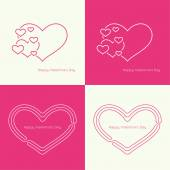 Set of vector icons with hearts — Vetor de Stock