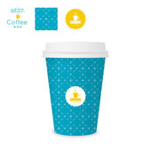 Closed paper cup for coffee with texture. — Stock Vector