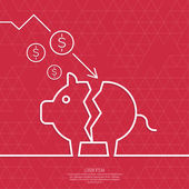 Broken pig piggy bank. — Stock Vector